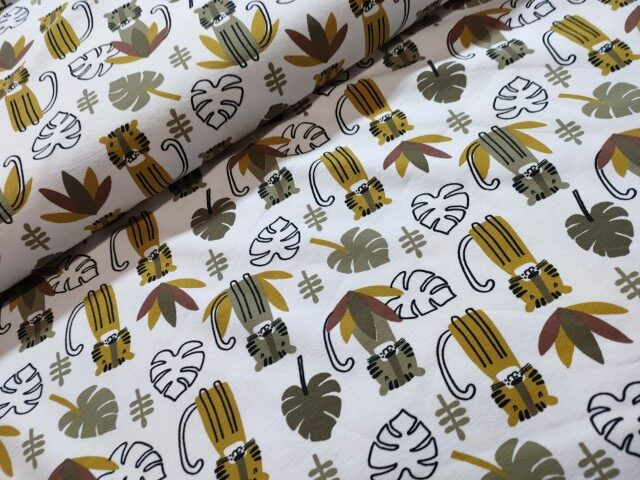 stebzo katoenen tricot jungle tijger mosterd groen wit