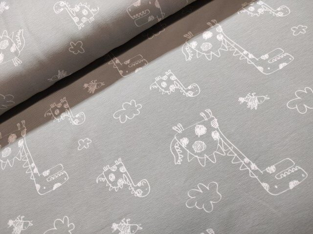 stenzo dino's grijs wit katoenen tricot
