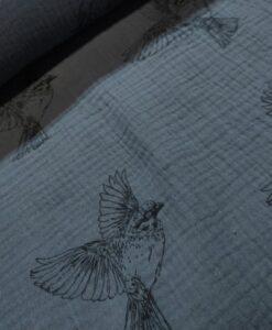 mousseline vogels grijs polly fabirics