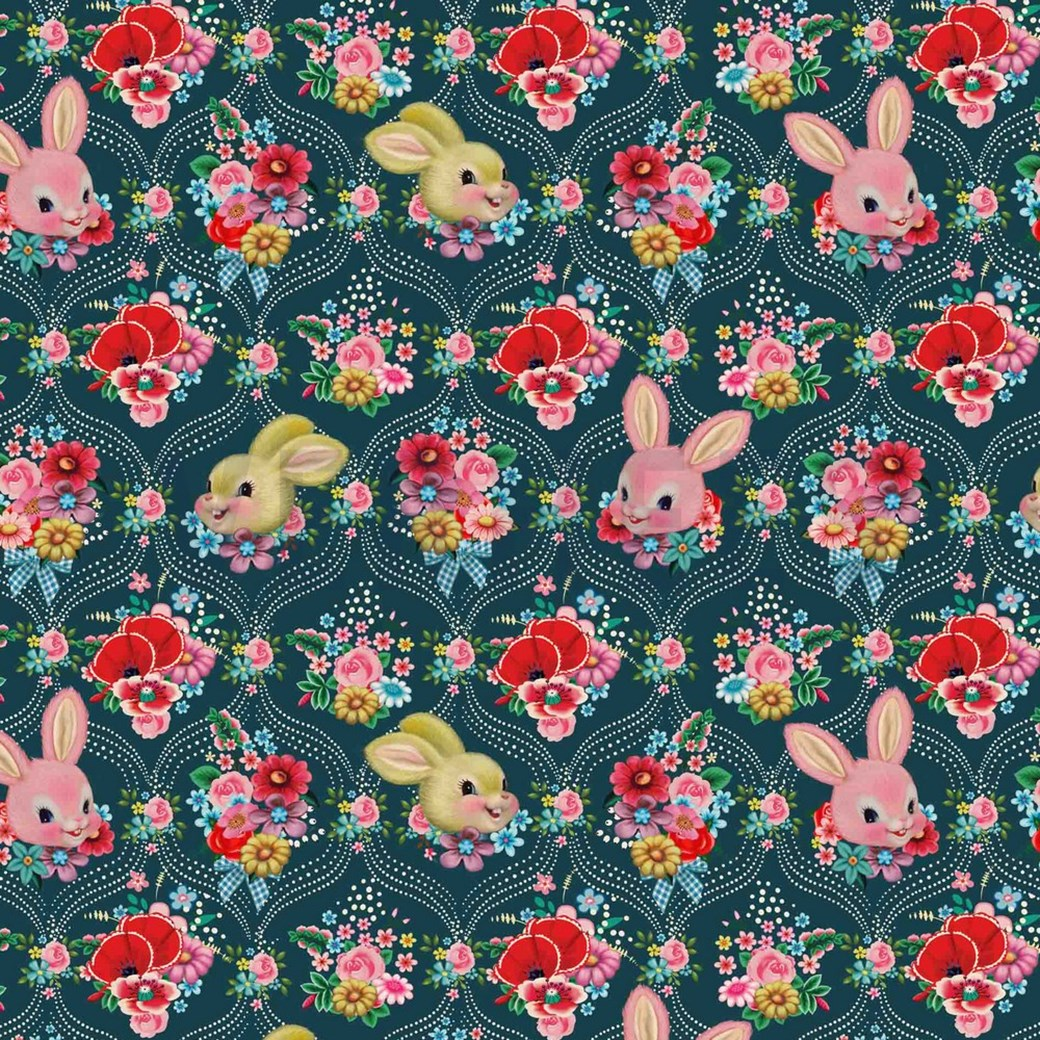 Fioa Hweit tricot Happy Bunnies petrol