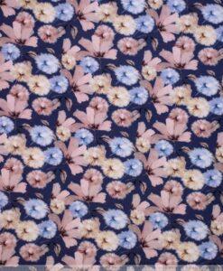 bloemen roze blauw katoenen tricot dandelion