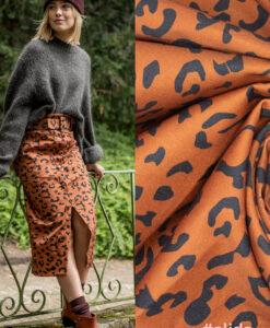 Fibre Mood alida Stretchdenim zwaert bruin luipaardvlekken