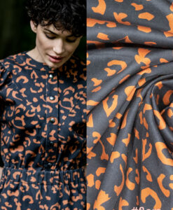 fibre mood flora stretch denim leopard