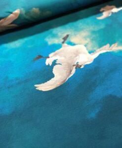katoenen tricot dutch swans blauw