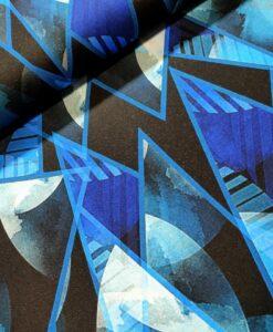sarah viscose tricot moon priint blauw