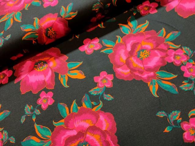 pioenrozen zwart fuchsia viscose tricot