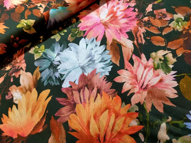 Bloemen zwart multi ecovero viscose flower print