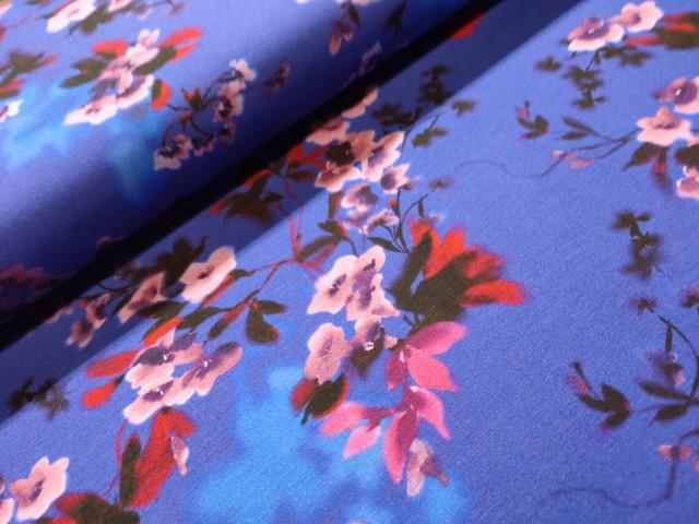 blomen blauw rood viscose tricot